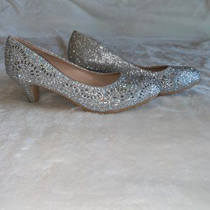 Silver sparkle jeweled pumps 9